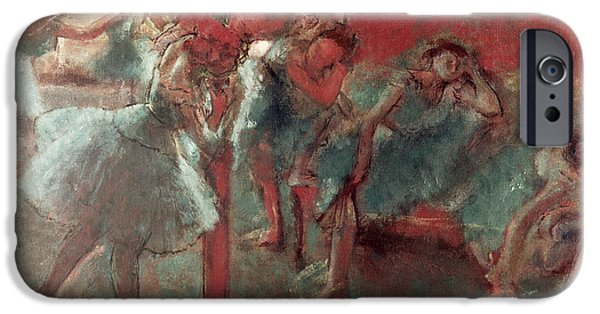 Tutus Paintings iPhone Cases - Dancers at Rehearsal iPhone Case by Edgar Degas