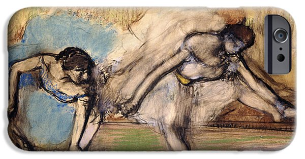 19th Century Pastels iPhone Cases - Dancers At Rest iPhone Case by Edgar Degas