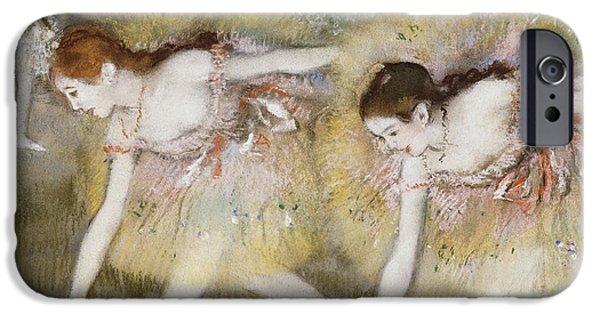 Ballet iPhone Cases - Dancers Bending Down iPhone Case by Edgar Degas