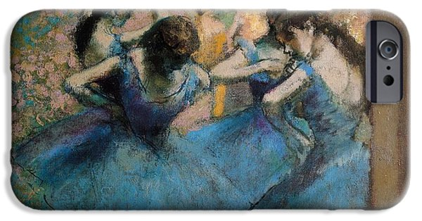 Tutus Paintings iPhone Cases - Dancers in blue iPhone Case by Edgar Degas