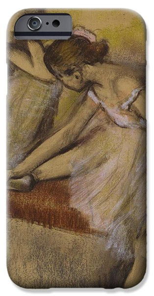 Tutus Paintings iPhone Cases - Dancers in Repose iPhone Case by Edgar Degas