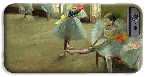 Tutus Paintings iPhone Cases - Dancers in the Classroom iPhone Case by Edgar Degas