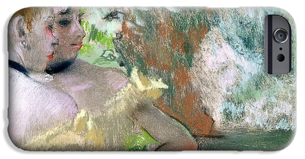 Pastel iPhone Cases - Dancers in the Wings  iPhone Case by Edgar Degas