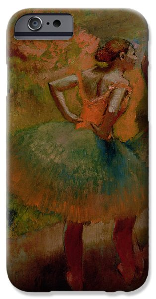 Ballet Dancers iPhone Cases - Dancers Wearing Green Skirts iPhone Case by Edgar Degas