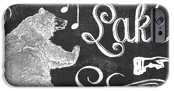 Lake House iPhone Cases - Dancing Bear Lake Rustic Cabin Sign iPhone Case by Mindy Sommers