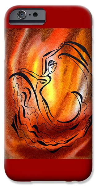 Abstractions iPhone Cases - Dancing Fire I iPhone Case by Irina Sztukowski