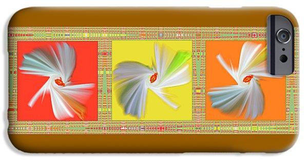 Ben Gertsberg Digital Art iPhone Cases - Dancing Flower Trio iPhone Case by Ben and Raisa Gertsberg