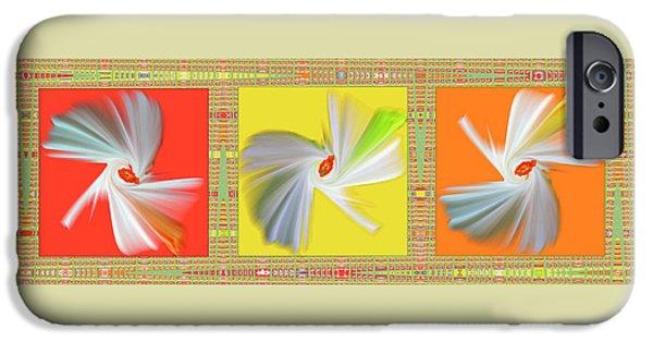 Abstract Digital Art iPhone Cases - Dancing Flower Trio iPhone Case by Ben and Raisa Gertsberg