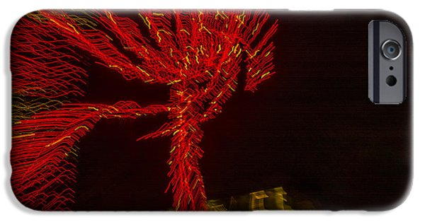 Night Angel iPhone Cases - Dancing Lights 6 - Palm Tree iPhone Case by Penny Lisowski