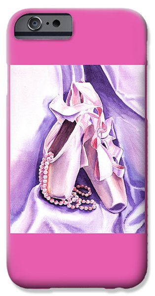 Silk iPhone Cases - Dancing Pearls Ballet Slippers  iPhone Case by Irina Sztukowski