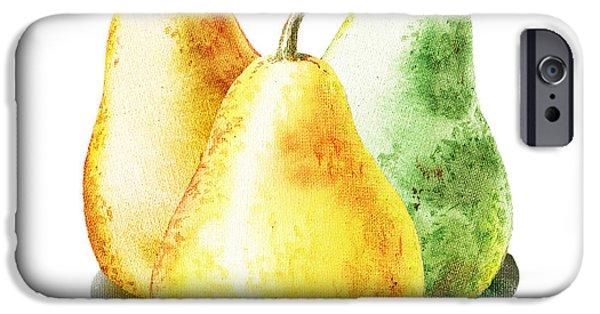 Pears iPhone Cases - Dancing Pears iPhone Case by Irina Sztukowski