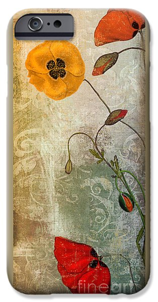 California Poppies iPhone Cases - Dancing Poppies iPhone Case by Mindy Sommers