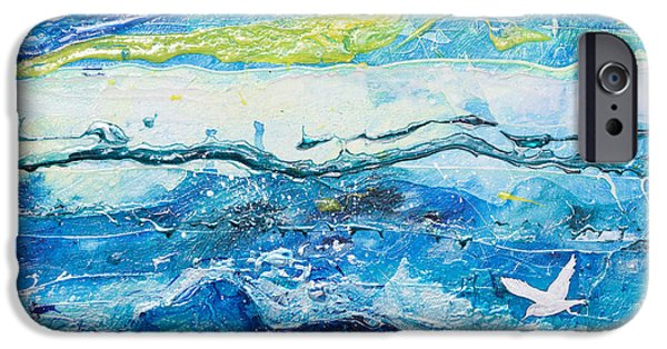 Blue Green Wave iPhone Cases - Dancing with the waves iPhone Case by Margaret Coxall