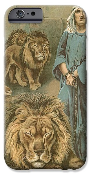 Punishment iPhone Cases - Daniel in the lions den iPhone Case by John Lawson