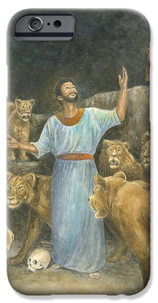 Religious Pastels iPhone Cases - Daniel Praying in Lions Den iPhone Case by Robert Casilla