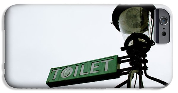 Sign iPhone Cases - Danish Toilet Sign iPhone Case by Linda Woods