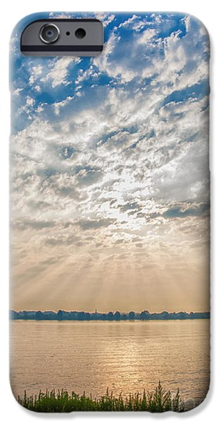 Sun Rays Mixed Media iPhone Cases - Dappled Dawn iPhone Case by Terry Rowe