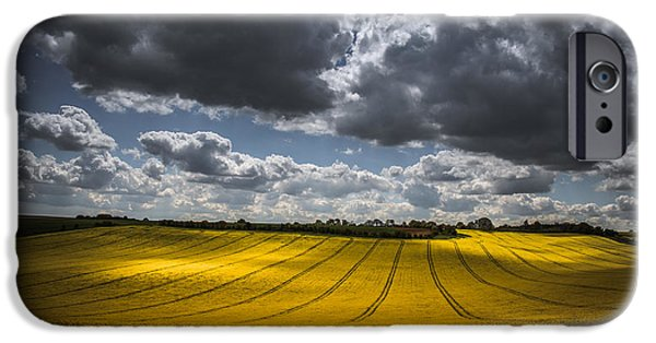 Agriculture iPhone Cases - Dappled sunlight on the rapeseed field iPhone Case by Chris Fletcher