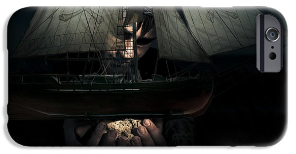 Pirate Ship iPhone Cases - Dark Adventure iPhone Case by Ryan Jorgensen