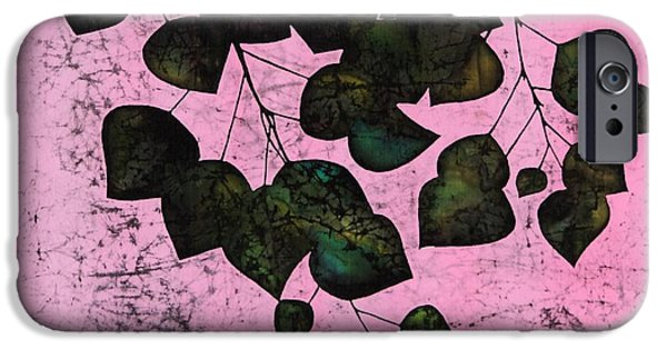Black Tapestries - Textiles iPhone Cases - Dark Aspen In Pink iPhone Case by Carolyn Doe