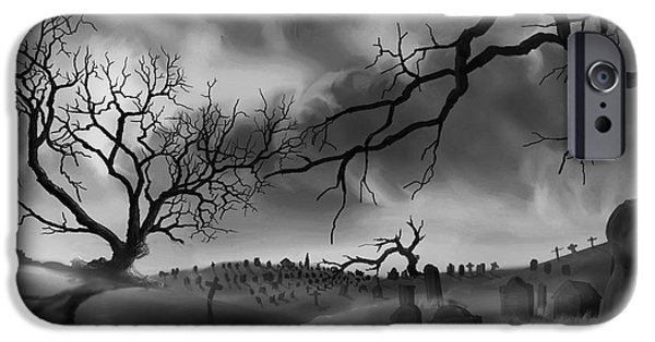 Cemetery Paintings iPhone Cases - Dark Cemetary iPhone Case by James Christopher Hill