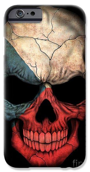 Czech Republic Digital iPhone Cases - Dark Czech Flag Skull iPhone Case by Jeff Bartels