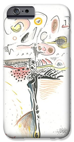 Moonscape Drawings iPhone Cases - Dark Lite iPhone Case by Ralf Schulze