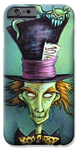 Mad Hatter Digital iPhone Cases - Dark Mad Hatter iPhone Case by Diana Levin