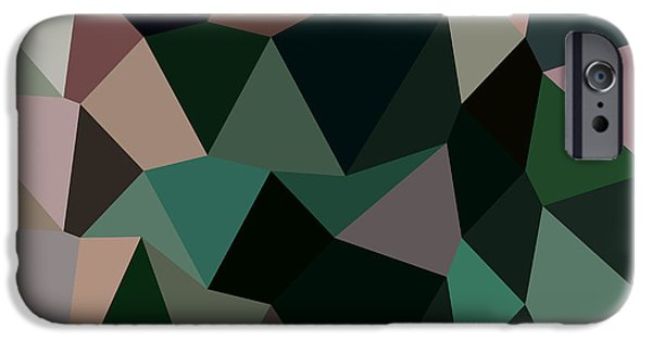 Mosaic iPhone Cases - Dark Moss Green Abstract Low Polygon Background iPhone Case by Aloysius Patrimonio