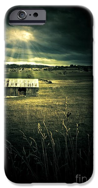 Abandonment iPhone Cases - Dark Outback Landscape iPhone Case by Ryan Jorgensen