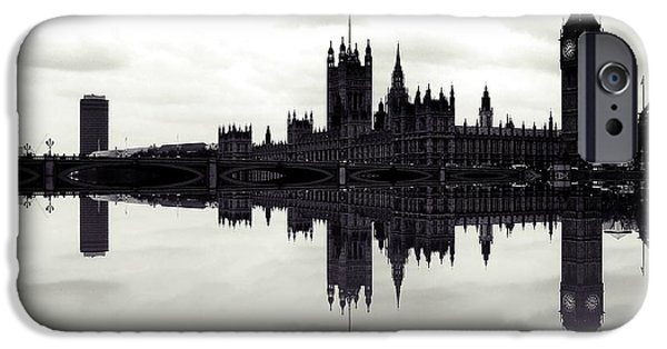 London iPhone Cases - Dark Reflections iPhone Case by Sharon Lisa Clarke