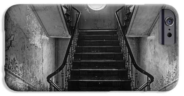 Haunted House iPhone Cases - Dark stairs to attic - urban exploration iPhone Case by Dirk Ercken