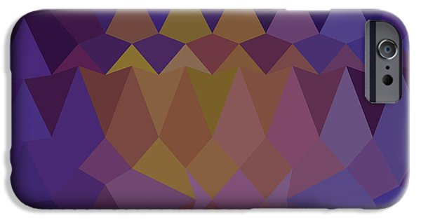 Mosaic iPhone Cases - Dark Violet Abstract Low Polygon Background iPhone Case by Aloysius Patrimonio