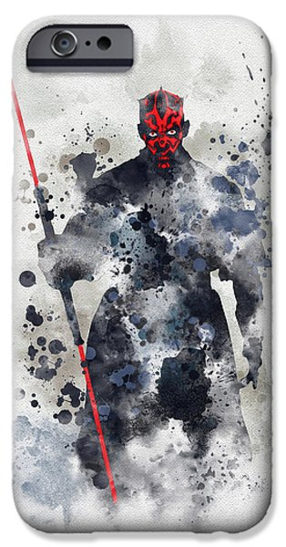 Stars Mixed Media iPhone Cases - Darth Maul iPhone Case by Rebecca Jenkins