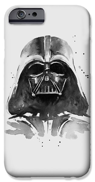 Fan Paintings iPhone Cases - Darth Vader Watercolor iPhone Case by Olga Shvartsur