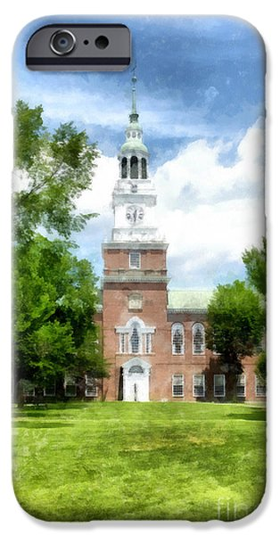 Brick Schools iPhone Cases - Dartmouth College Watercolor iPhone Case by Edward Fielding