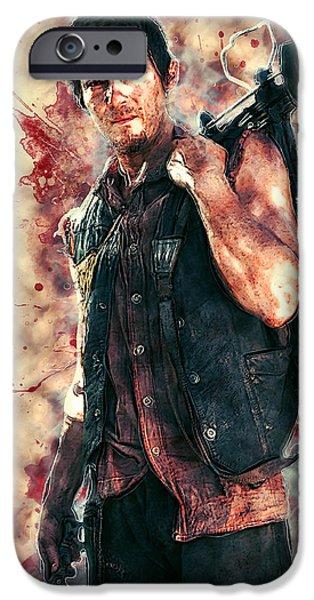 Walker Digital Art iPhone Cases - Daryl Dixon iPhone Case by Taylan Soyturk
