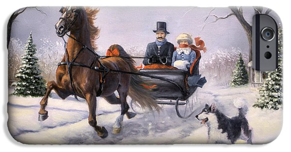 Winter Scene iPhone Cases - Dashing Through the Snow  II iPhone Case by Jeanne Newton Schoborg