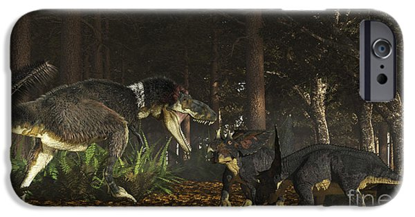 Four Animal Faces iPhone Cases - Daspletosaurus Confronts A Family iPhone Case by Arthur Dorety