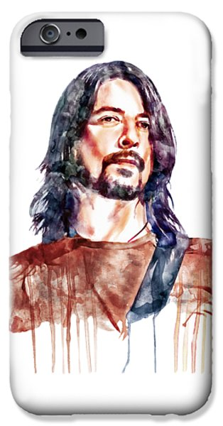 Marian iPhone Cases - Dave Grohl watercolor iPhone Case by Marian Voicu
