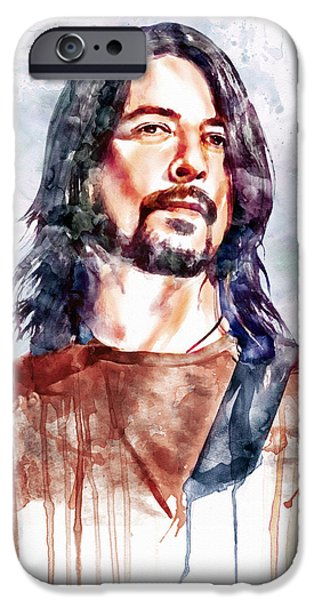 Foo Fighters iPhone Cases - Dave Grohl watercolor iPhone Case by Marian Voicu