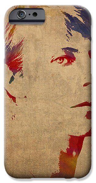 David iPhone Cases - David Bowie Rock Star Musician Watercolor Portrait on Worn Distressed Canvas iPhone Case by Design Turnpike