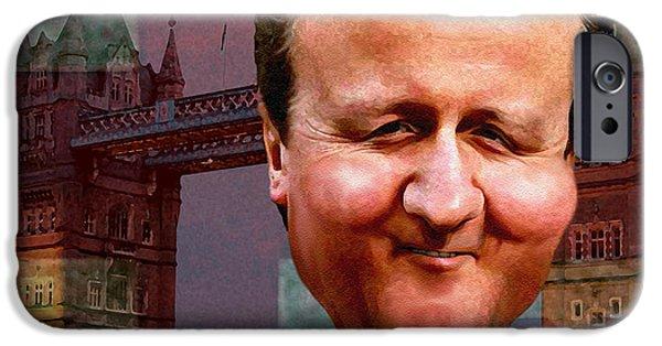 President iPhone Cases - David Cameron iPhone Case by Hans Neuhart