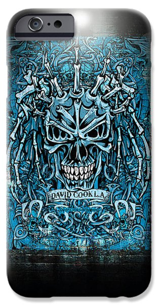 David iPhone Cases - David Cook Los Angeles Medieval Skull iPhone Case by David Cook Los Angeles