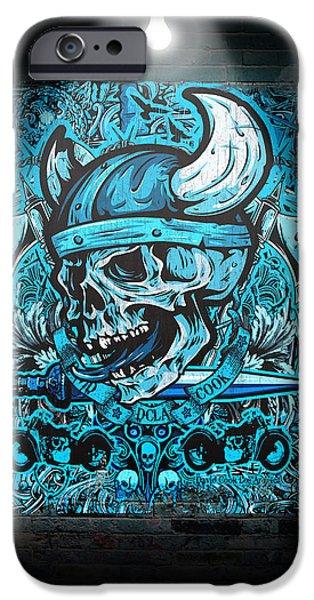 David iPhone Cases - David Cook Los Angeles Viking Skull iPhone Case by David Cook Los Angeles