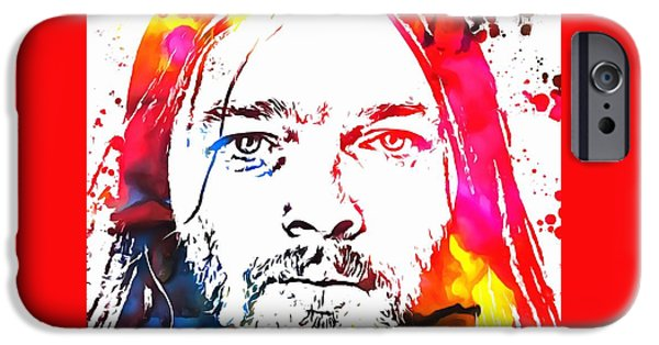 David Mixed Media iPhone Cases - David Gilmour Paint Splatter iPhone Case by Dan Sproul