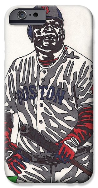 Red Sox Drawings iPhone Cases - David Ortiz  iPhone Case by Jeremiah Colley
