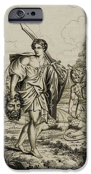 Religious Drawings iPhone Cases - David With Head Of Goliath. 18th iPhone Case by Ken Welsh