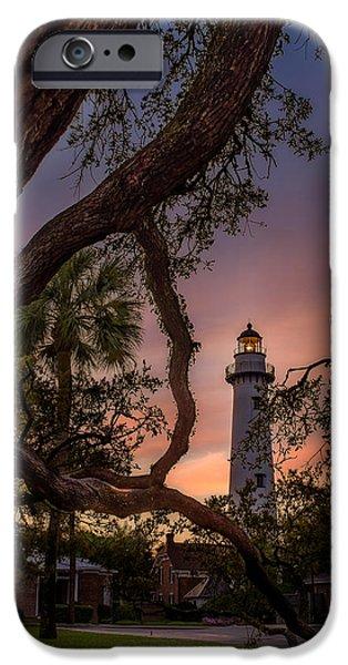 Glynn iPhone Cases - Dawn at Saint Simons Lighthouse iPhone Case by Chris Bordeleau