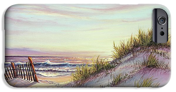 Dunes Paintings iPhone Cases - Dawn at the Beach iPhone Case by Joe Mandrick